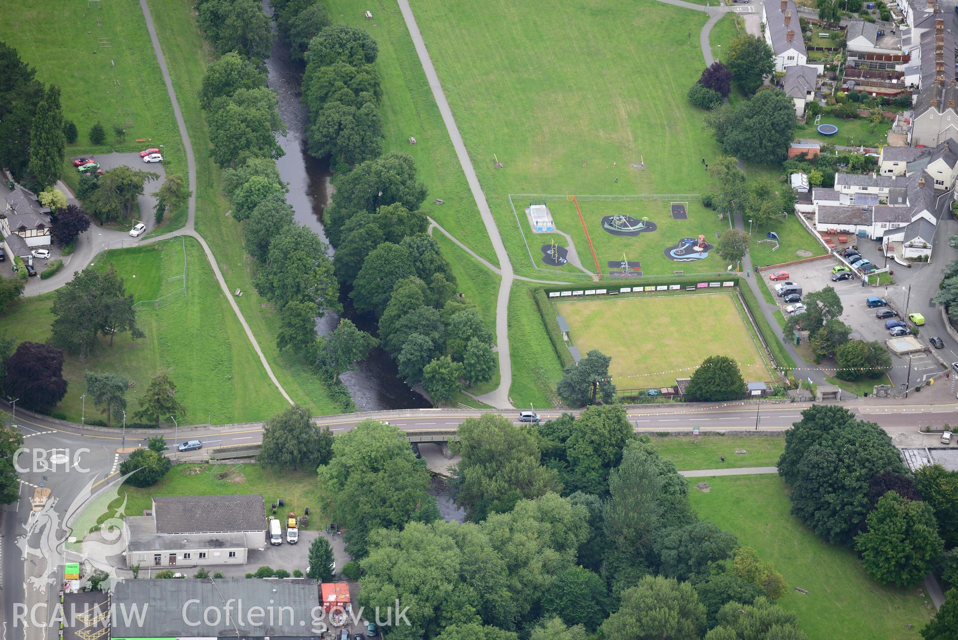 St. Asaph bridge and bowling green. Oblique aerial photograph taken during the Royal Commission's programme of archaeological aerial reconnaissance by Toby Driver on 30th July 2015.
