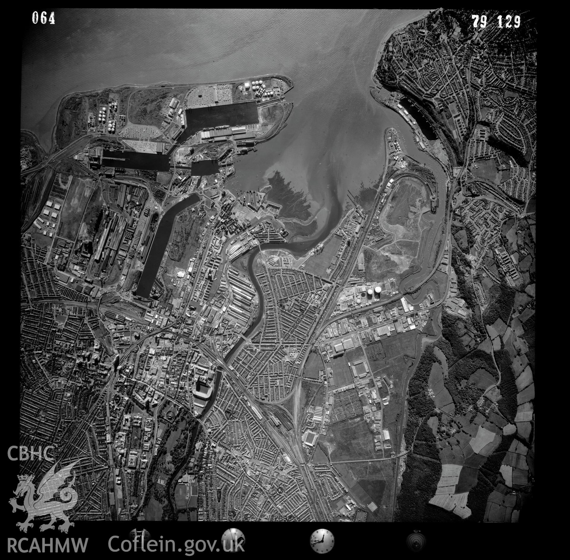 Digital copy of an aerial photograph showing the Cardiff Bay area, taken by Ordnance Survey, 1979.