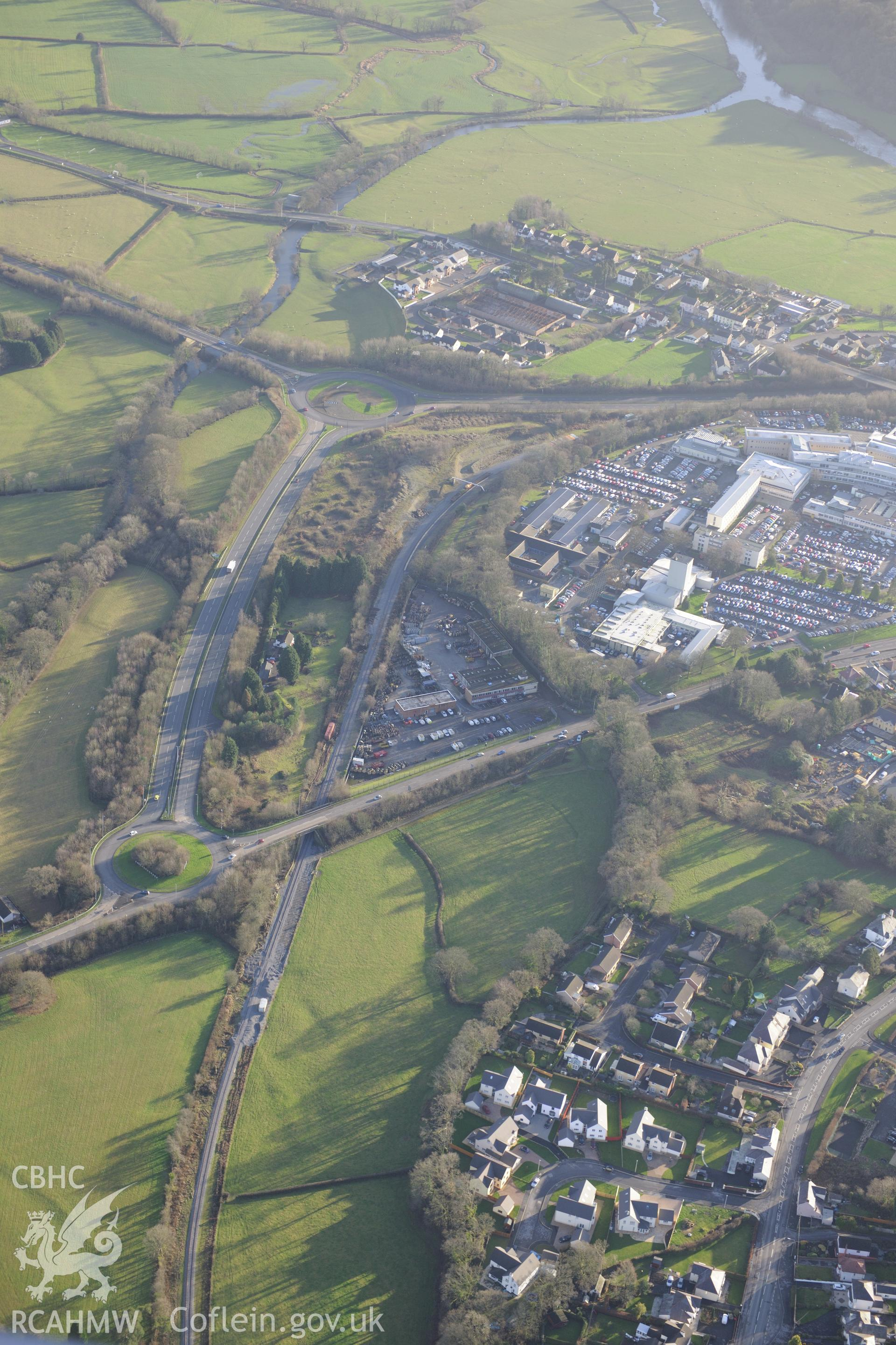 West Wales General Hospital, Carmarthen. Oblique aerial photograph taken during the Royal Commission's programme of archaeological aerial reconnaissance by Toby Driver on 6th January 2015.