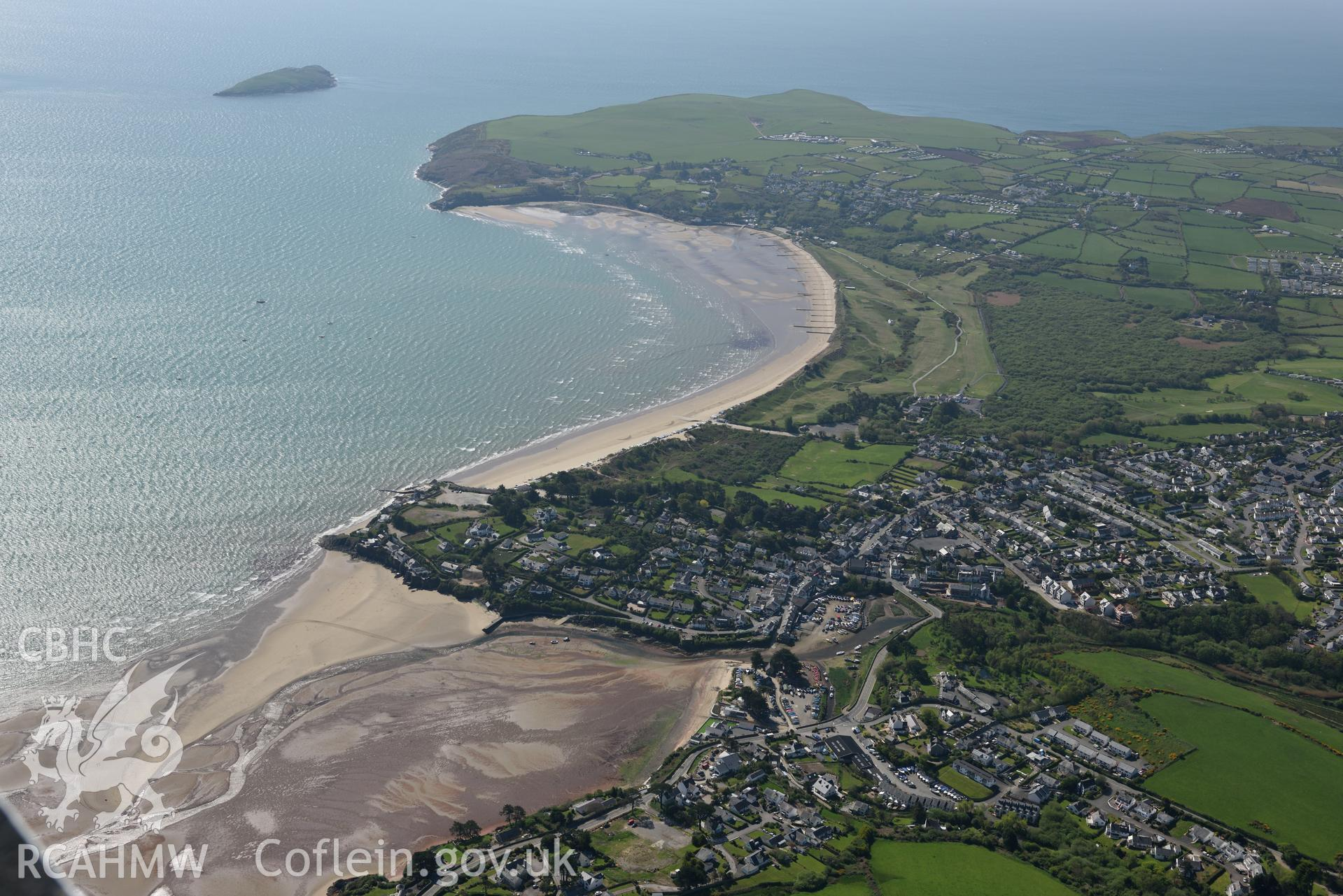 Aerial photography of Abersoch taken on 3rd May 2017.  Baseline aerial reconnaissance survey for the CHERISH Project. ? Crown: CHERISH PROJECT 2017. Produced with EU funds through the Ireland Wales Co-operation Programme 2014-2020. All material made free