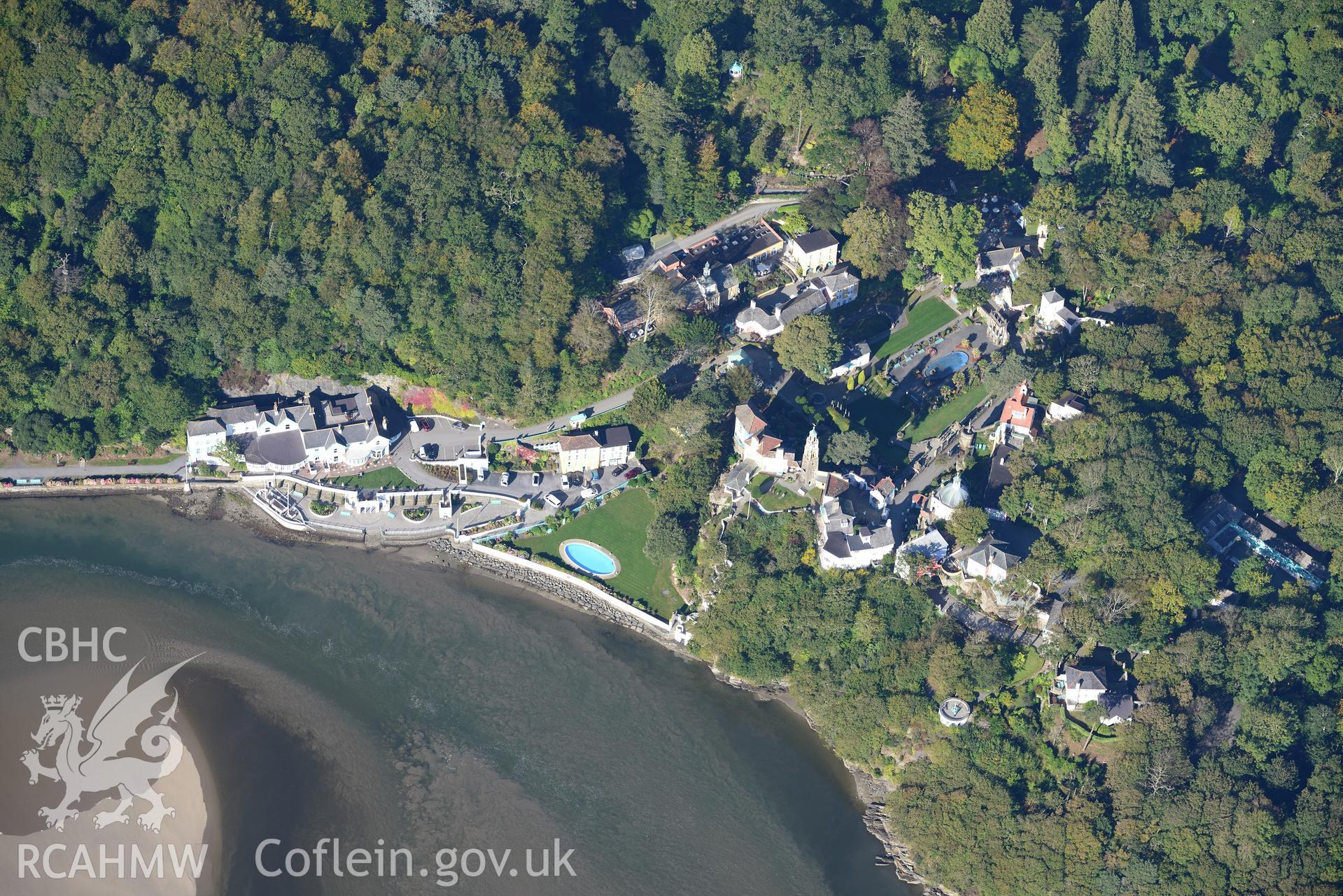 Aber Ia Mansion, now the Portmeirion Hotel, Portmeirion, south of Porthmadog. Oblique aerial photograph taken during the Royal Commission's programme of archaeological aerial reconnaissance by Toby Driver on 2nd October 2015.