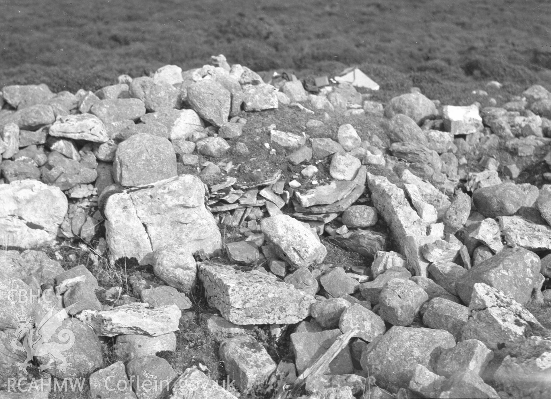 Digital copy of a nitrate negative showing Creigiau Eglwyseg Cairn