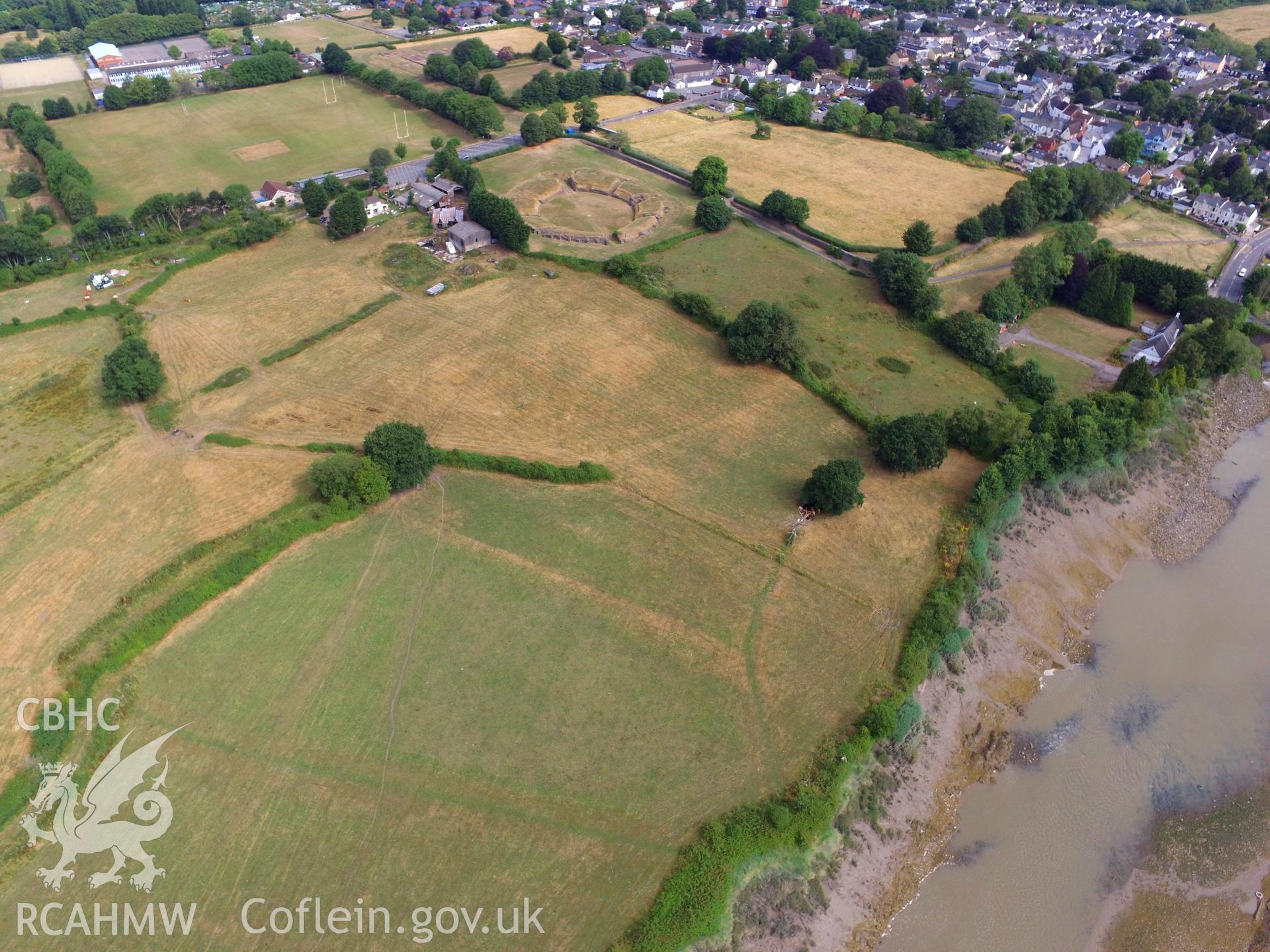 Colour photograph showing the remains of Isca Leginary Fortress, now the town of Caerleon. Photograph includes view of the Roman amphitheatre. Taken by Paul R. Davis on 22nd July 2018.
