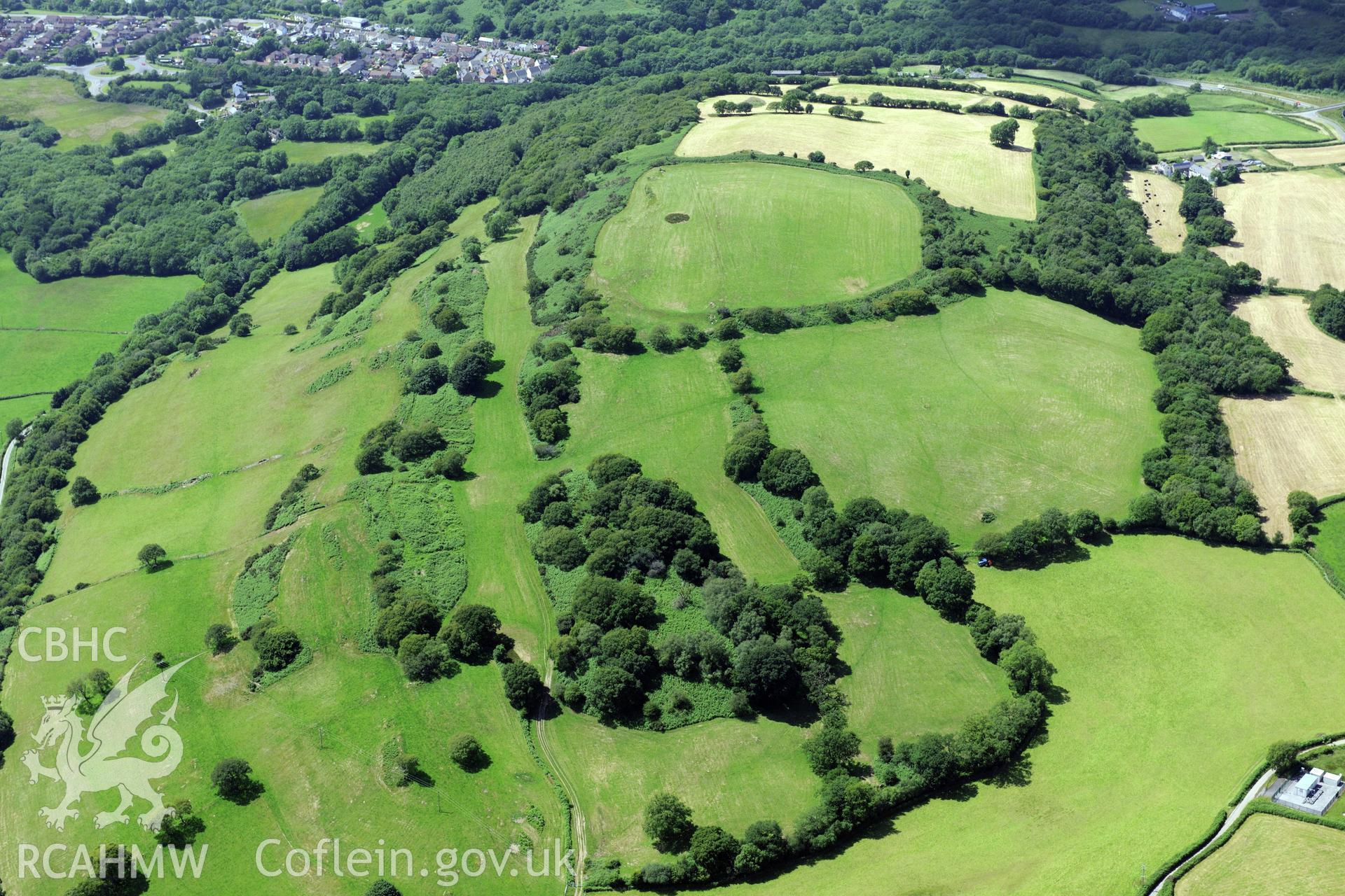 Caerau Hillfort and supposed site of battle, Rhiwsaeson, Llantrisant. Oblique aerial photograph taken during the Royal Commission's programme of archaeological aerial reconnaissance by Toby Driver on 29th June 2015.