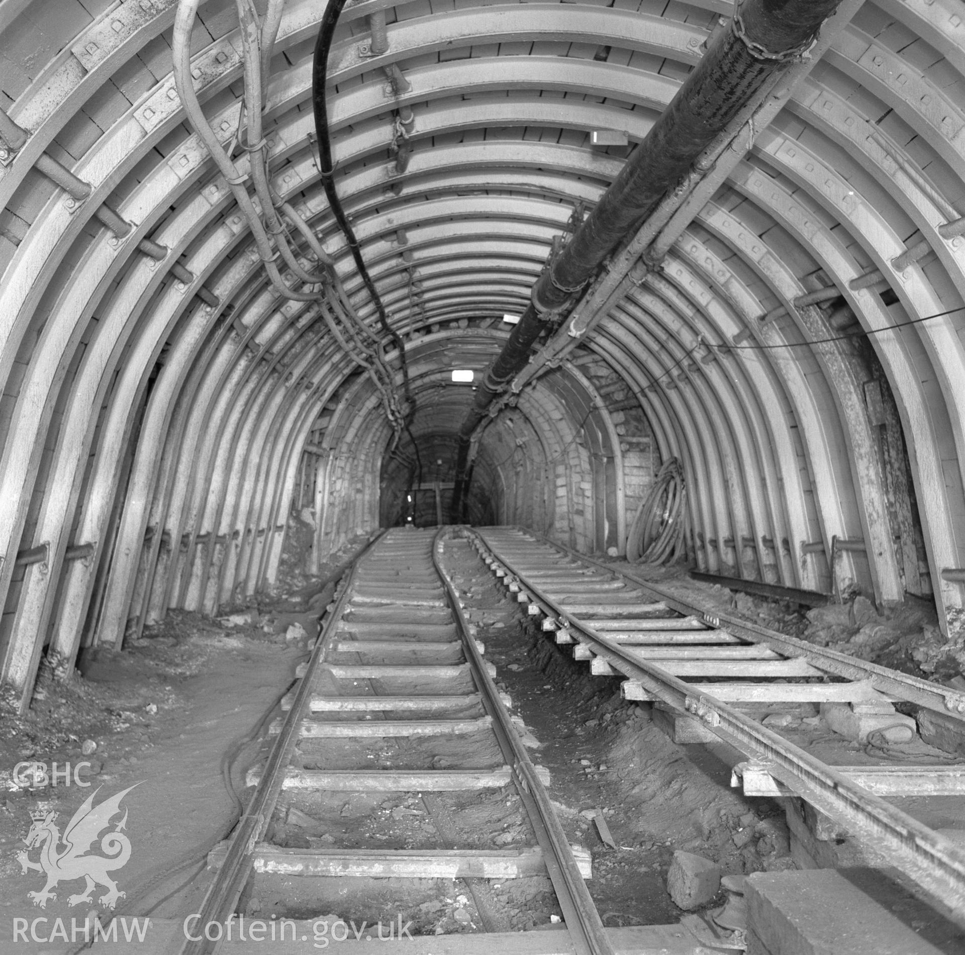 Digital copy of an acetate negative showing underground roadway at Blaenserchan Colliery, from the John Cornwell Collection.