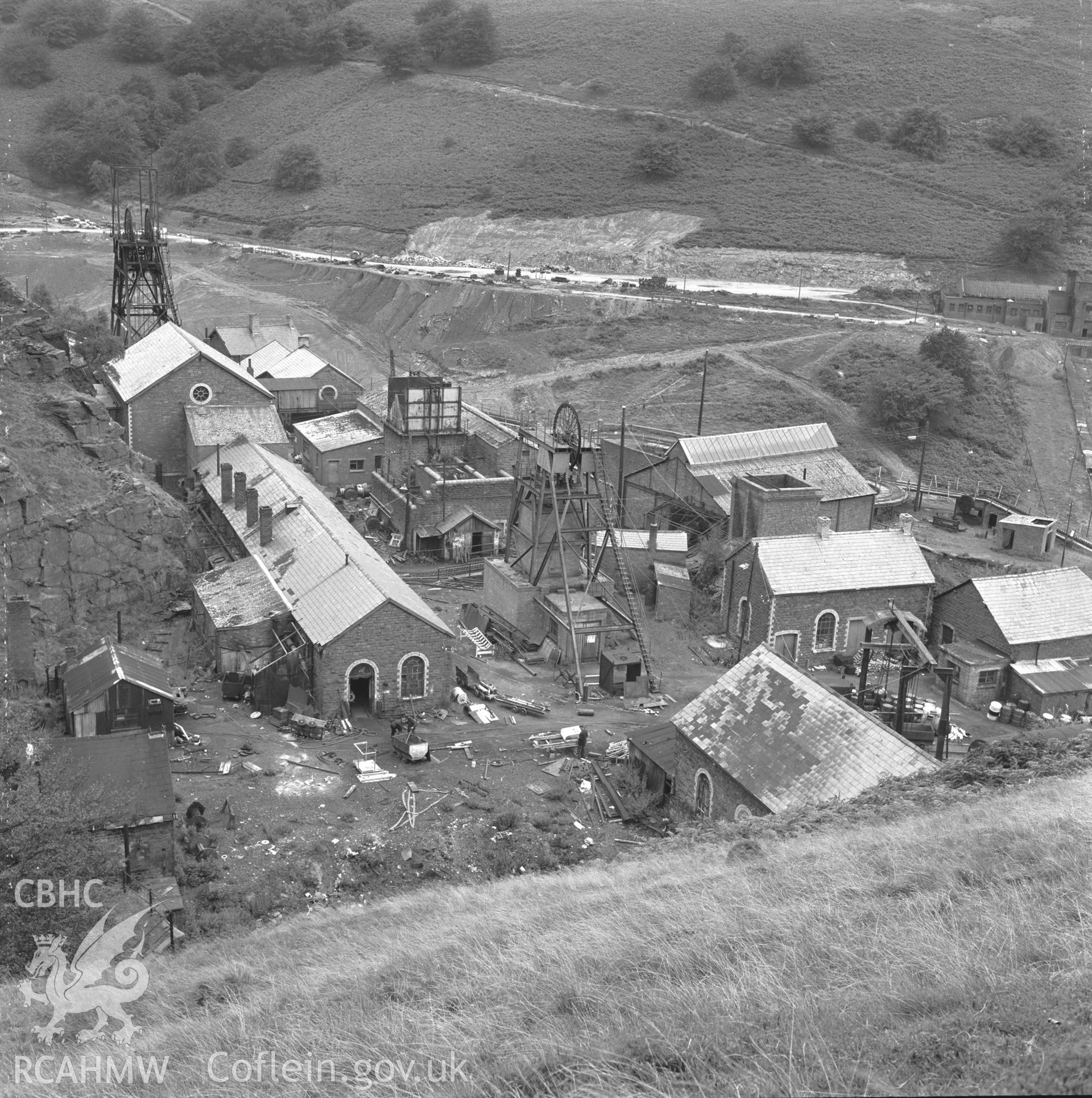 Digital copy of an acetate negative showing general view of Blaenserchan Colliery from above,  from the John Cornwell Collection.