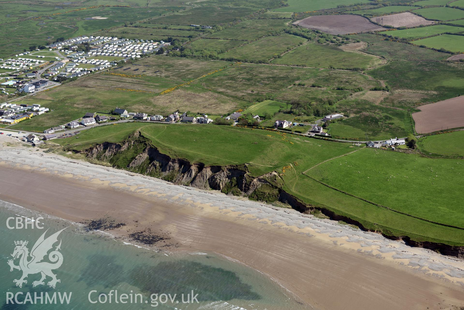 Aerial photography of Dinas Dinlle taken on 3rd May 2017.  Baseline aerial reconnaissance survey for the CHERISH Project. ? Crown: CHERISH PROJECT 2017. Produced with EU funds through the Ireland Wales Co-operation Programme 2014-2020. All material made