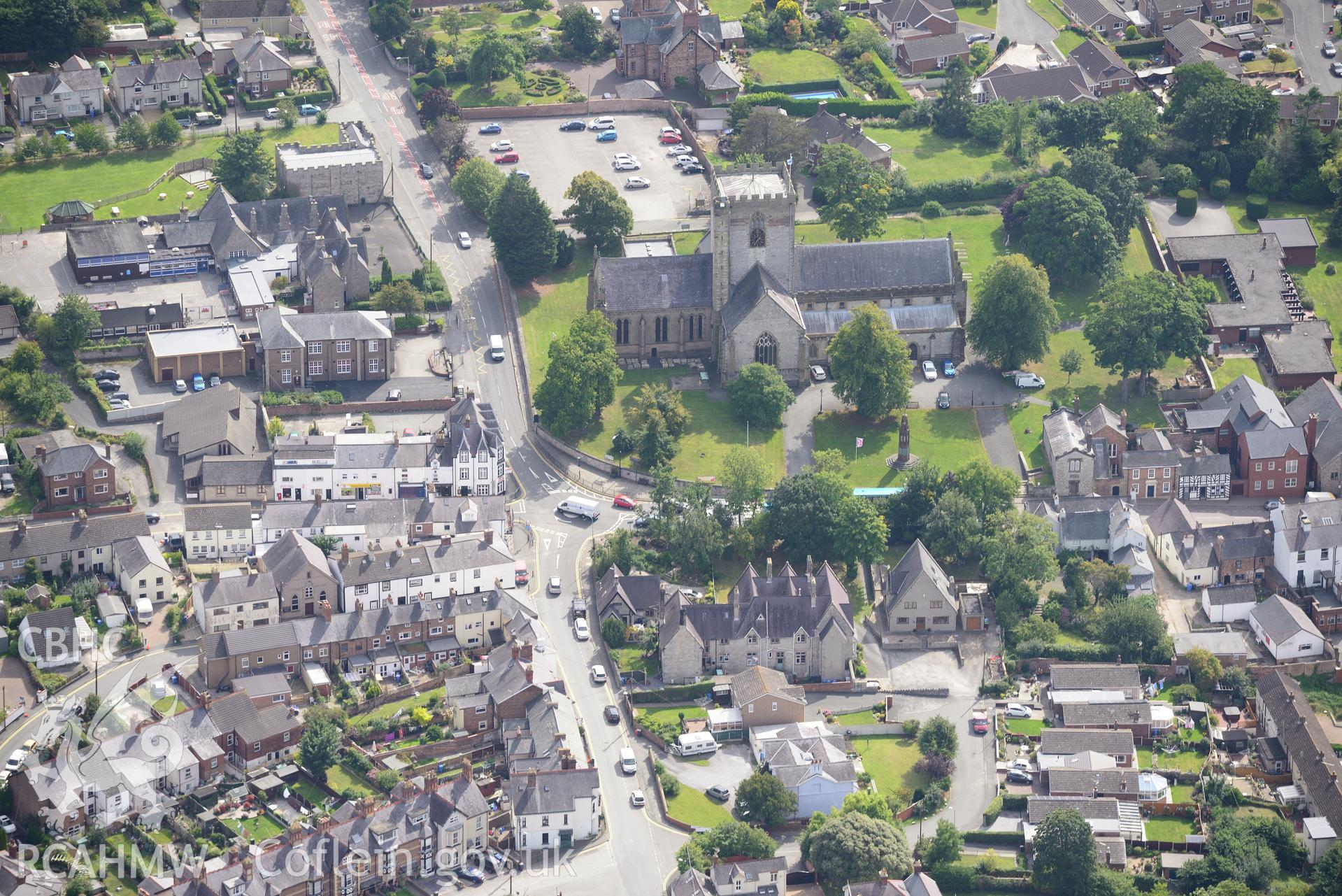 St. Asaph Cathedral and the Bishop William Morgan Memorial in the city of St. Asaph. Oblique aerial photograph taken during the Royal Commission's programme of archaeological aerial reconnaissance by Toby Driver on 11th September 2015.