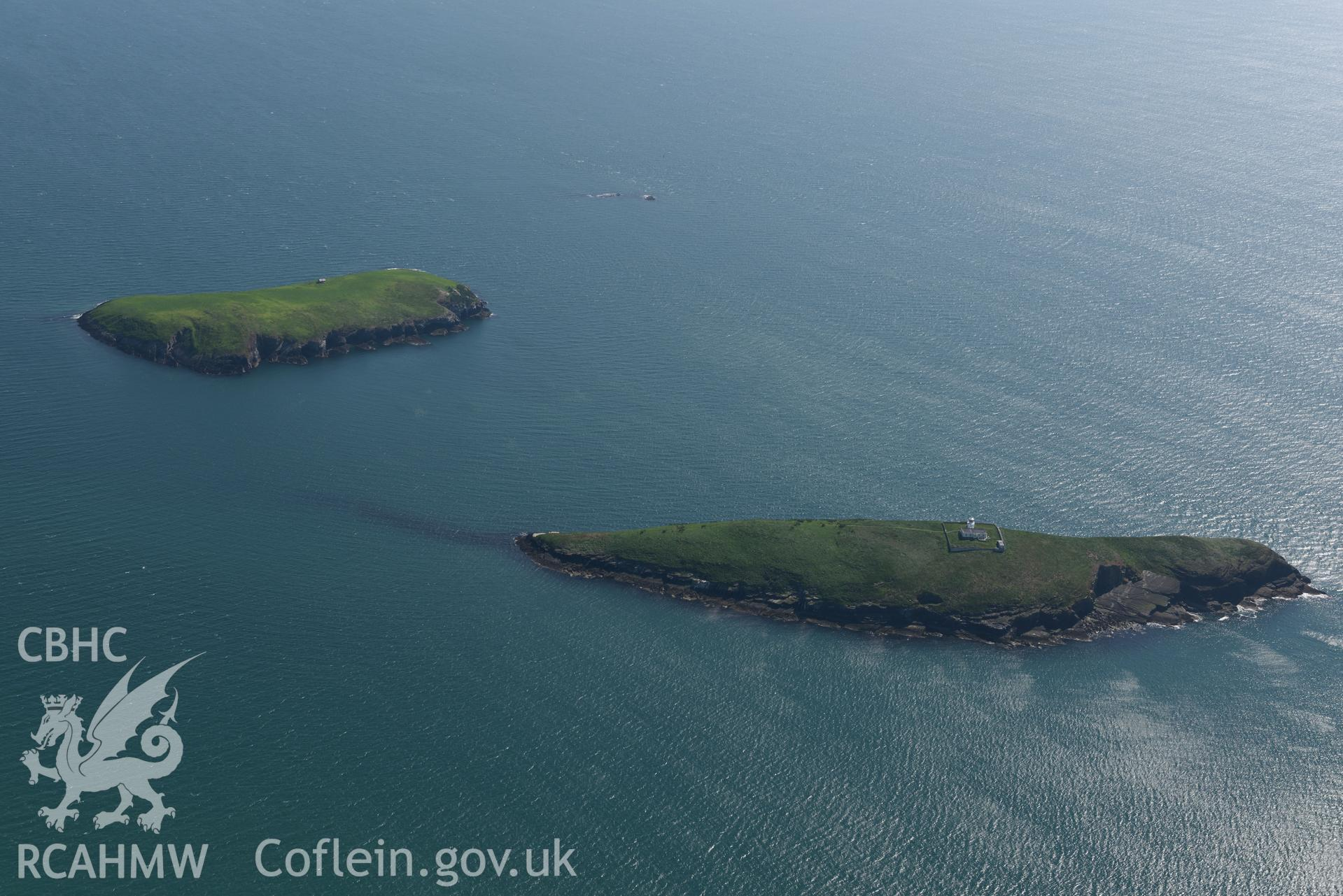 Aerial photography of The Tudwal's Islands taken on 3rd May 2017.  Baseline aerial reconnaissance survey for the CHERISH Project. ? Crown: CHERISH PROJECT 2017. Produced with EU funds through the Ireland Wales Co-operation Programme 2014-2020. All material made freely available through the Open Government Licence.