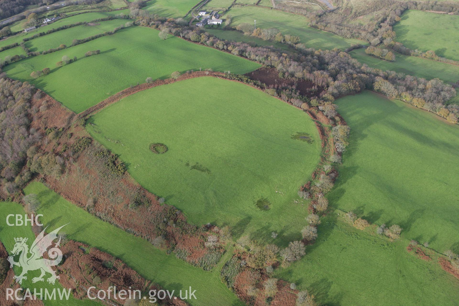 RCAHMW colour oblique photograph of Caerau Hillfort, Rhiwsaeson, Llantrisant. Taken by Toby Driver on 17/11/2011.