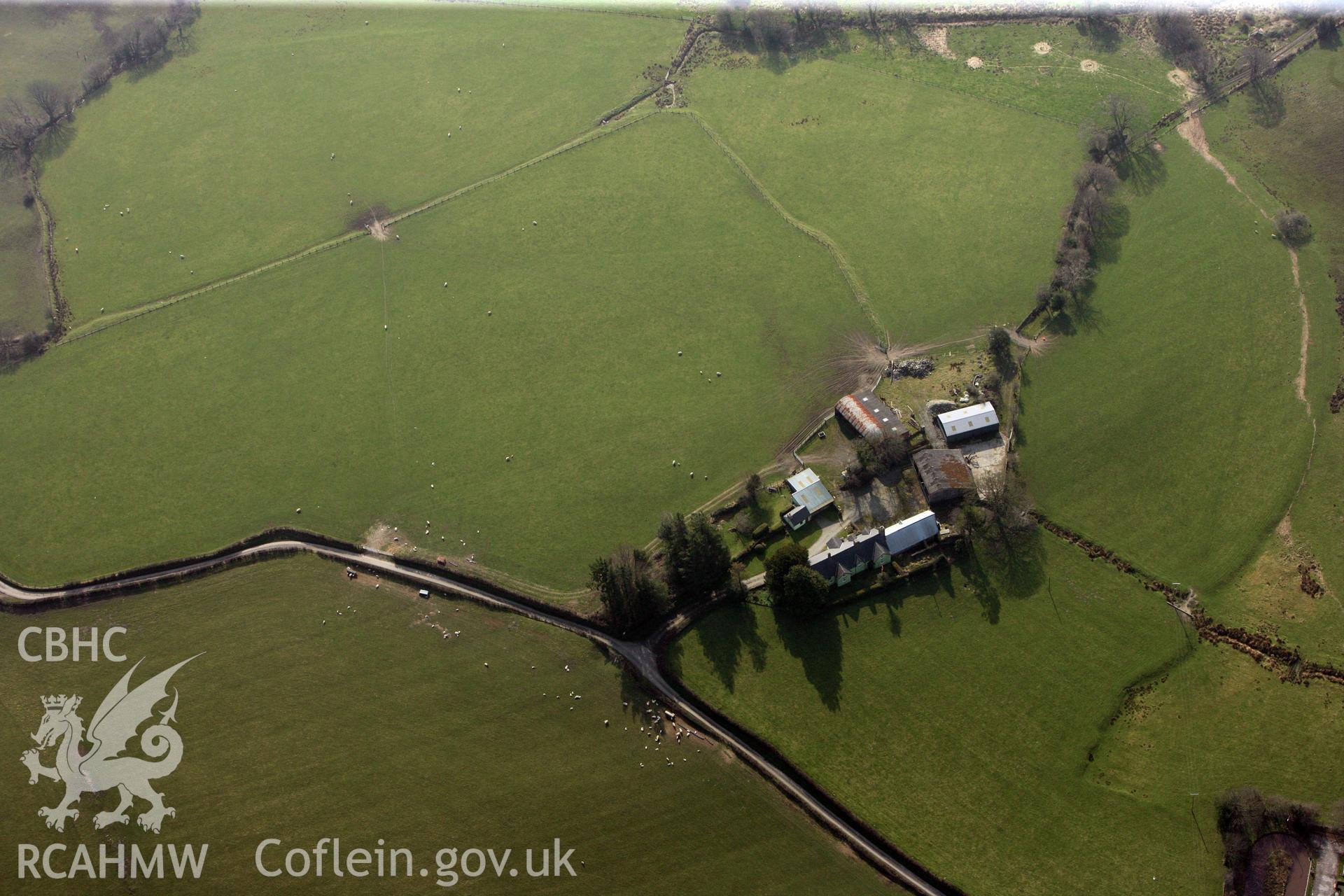 RCAHMW colour oblique photograph of Cefn Caer Roman Fort. Taken by Toby Driver on 25/03/2011.