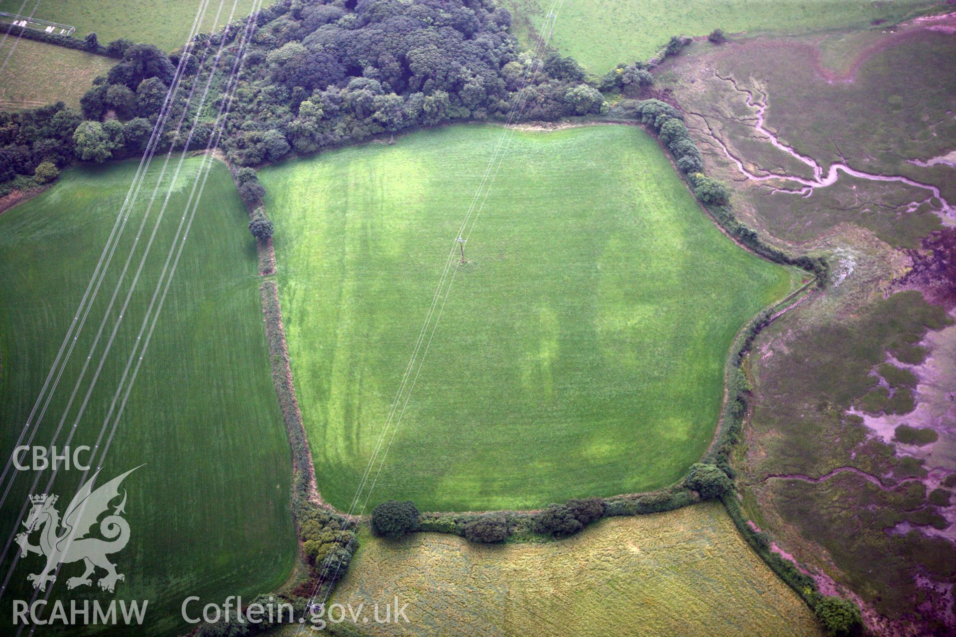 RCAHMW colour oblique photograph of Brownslate, cropmarks of possible enclosure. Taken by Toby Driver on 23/07/2010.