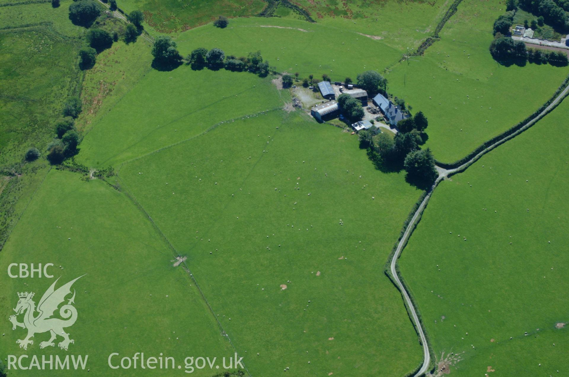 RCAHMW colour oblique aerial photograph of Cefn Gaer Roman military settlement taken on 14/06/2004 by Toby Driver