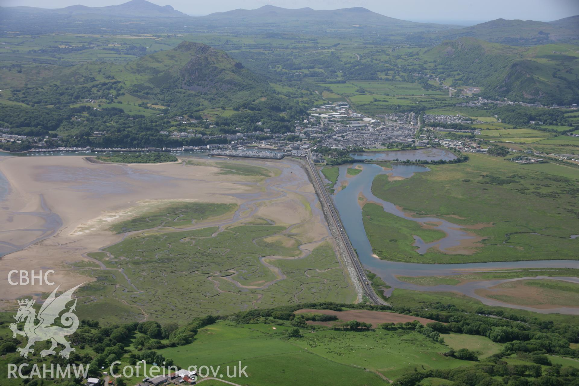 RCAHMW colour oblique aerial photograph of The Cob, Porthmadog, from the south-east. Taken on 14 June 2006 by Toby Driver.