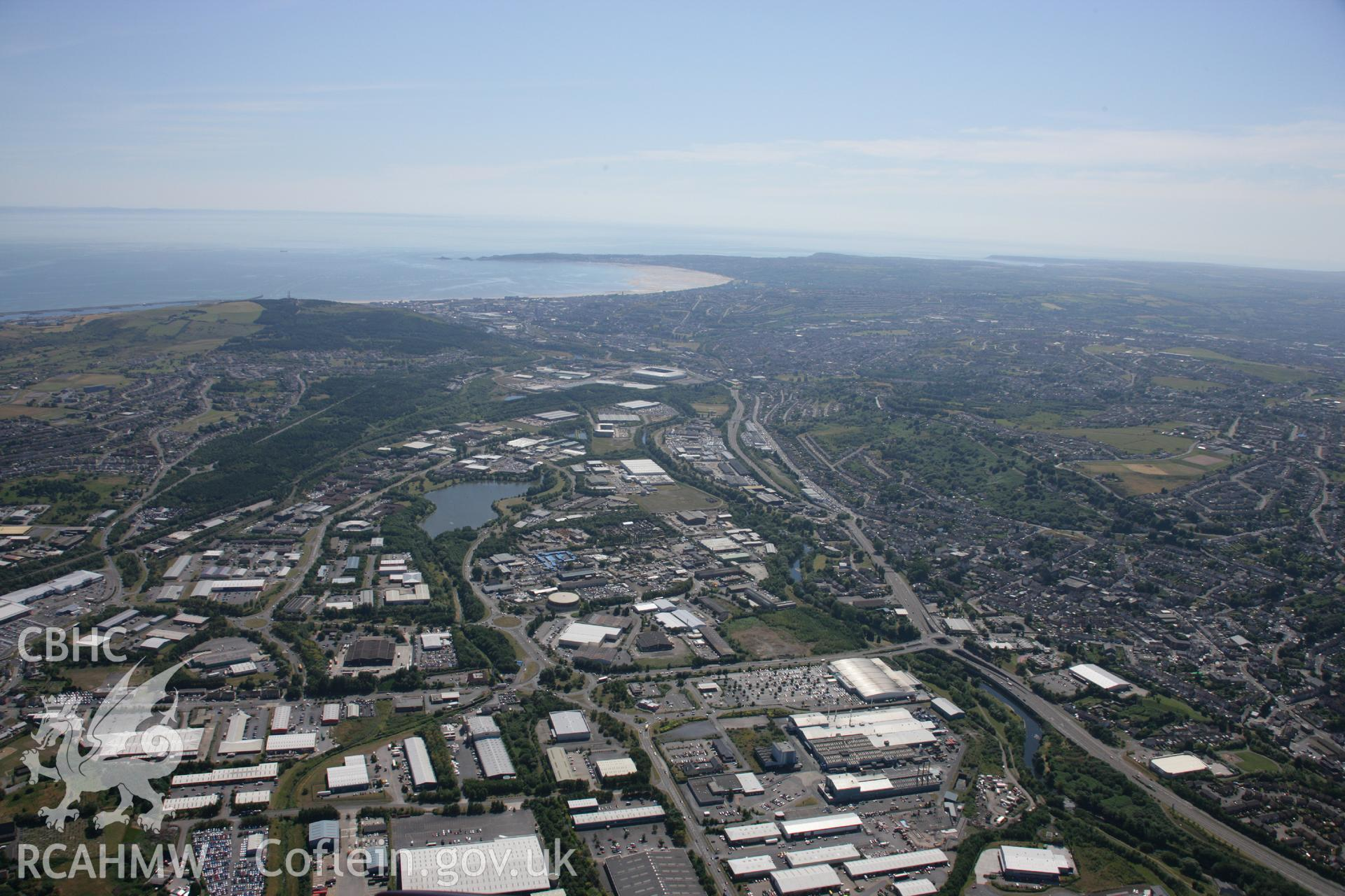 RCAHMW colour oblique aerial photograph of Swansea. Taken on 24 July 2006 by Toby Driver.