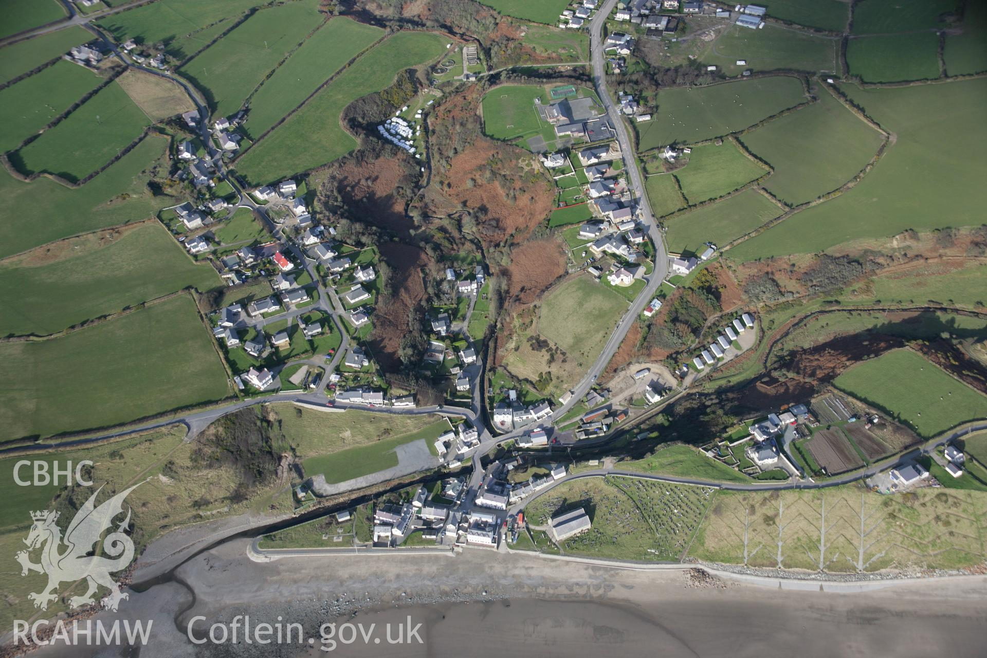 RCAHMW colour oblique aerial photograph of Aberdaron viewed from the south. Taken on 09 February 2006 by Toby Driver.