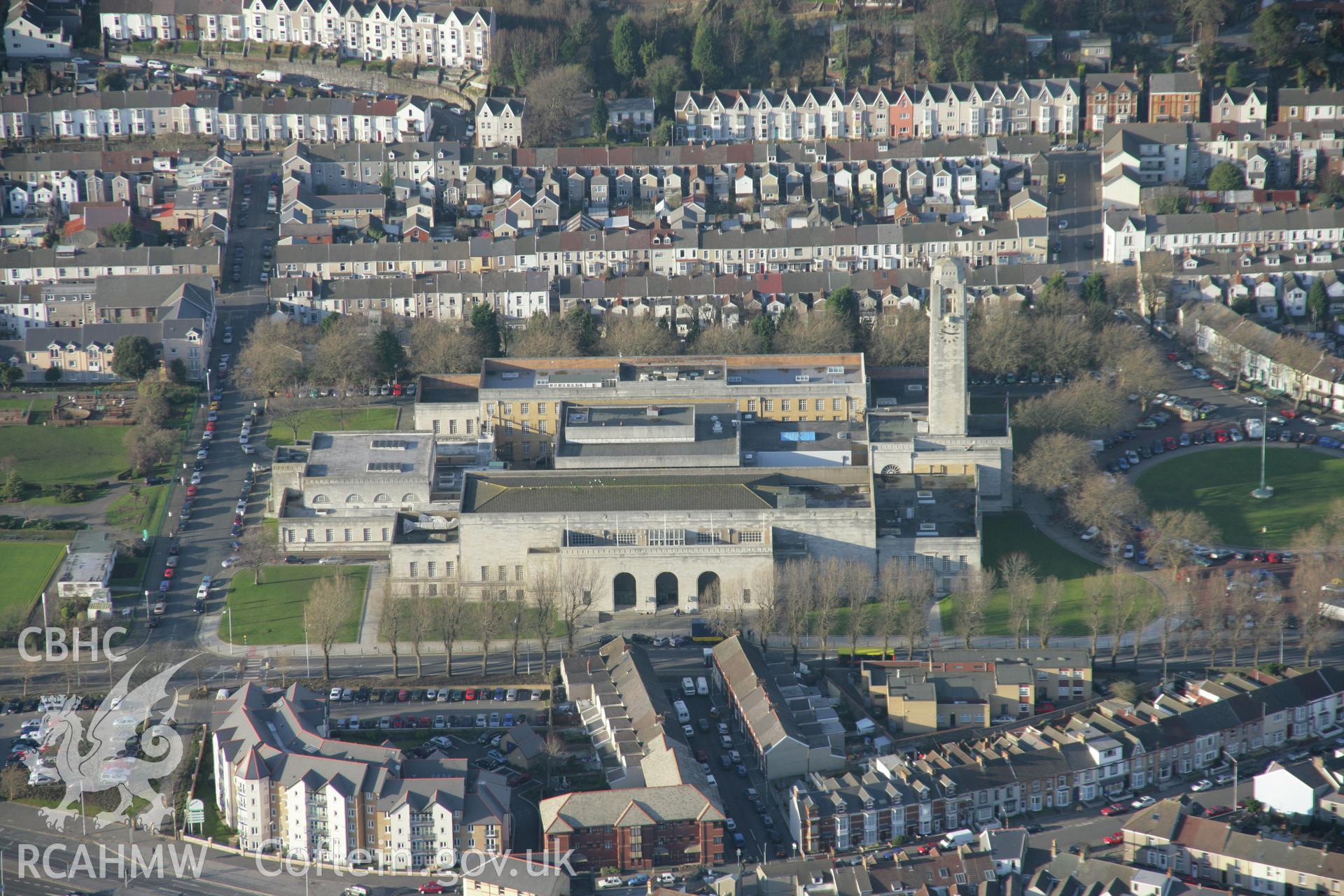 RCAHMW colour oblique aerial photograph of Guildhall, Swansea, from the south-east. Taken on 26 January 2006 by Toby Driver.