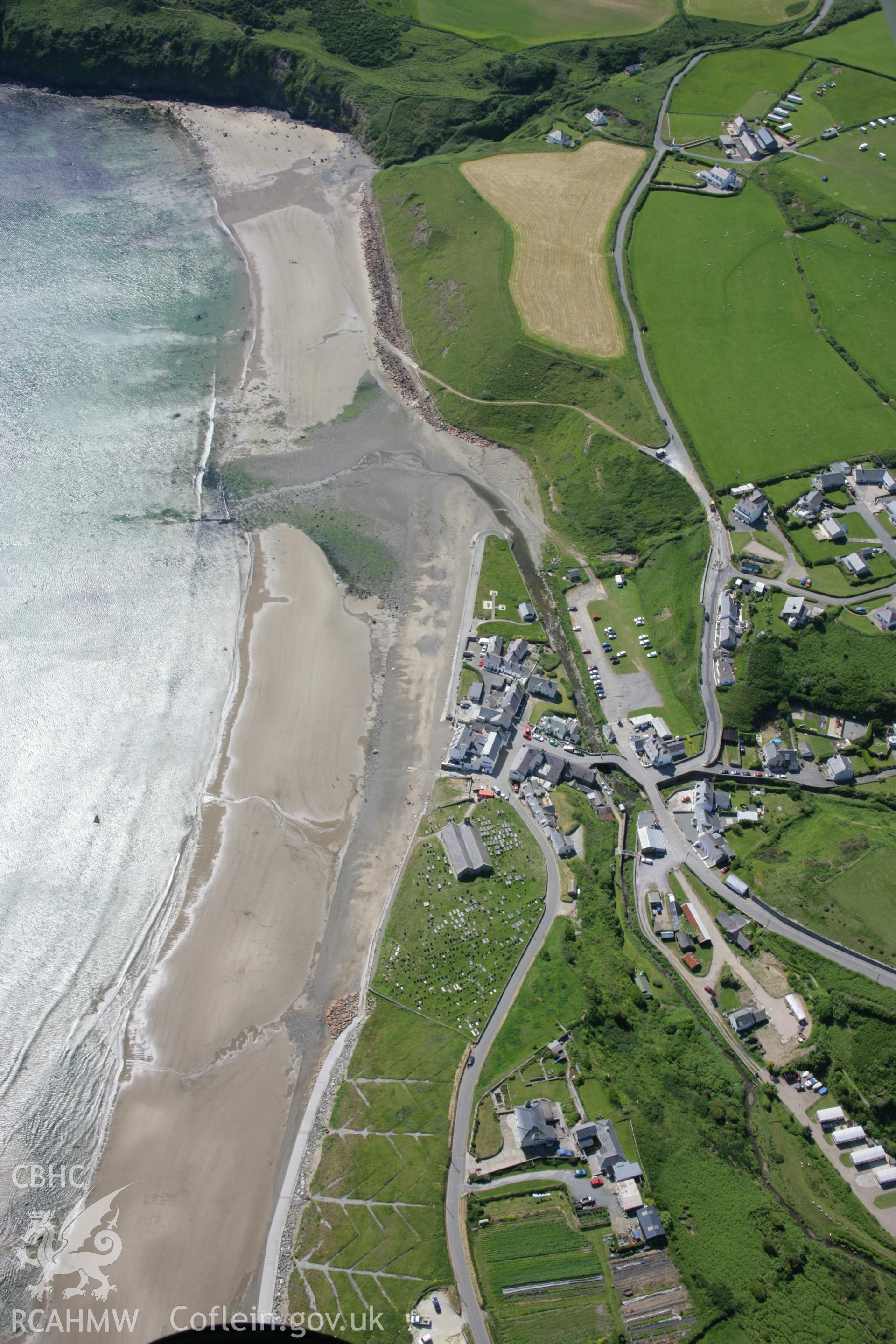 RCAHMW colour oblique aerial photograph of Aberdaron from the east. Taken on 14 June 2006 by Toby Driver.