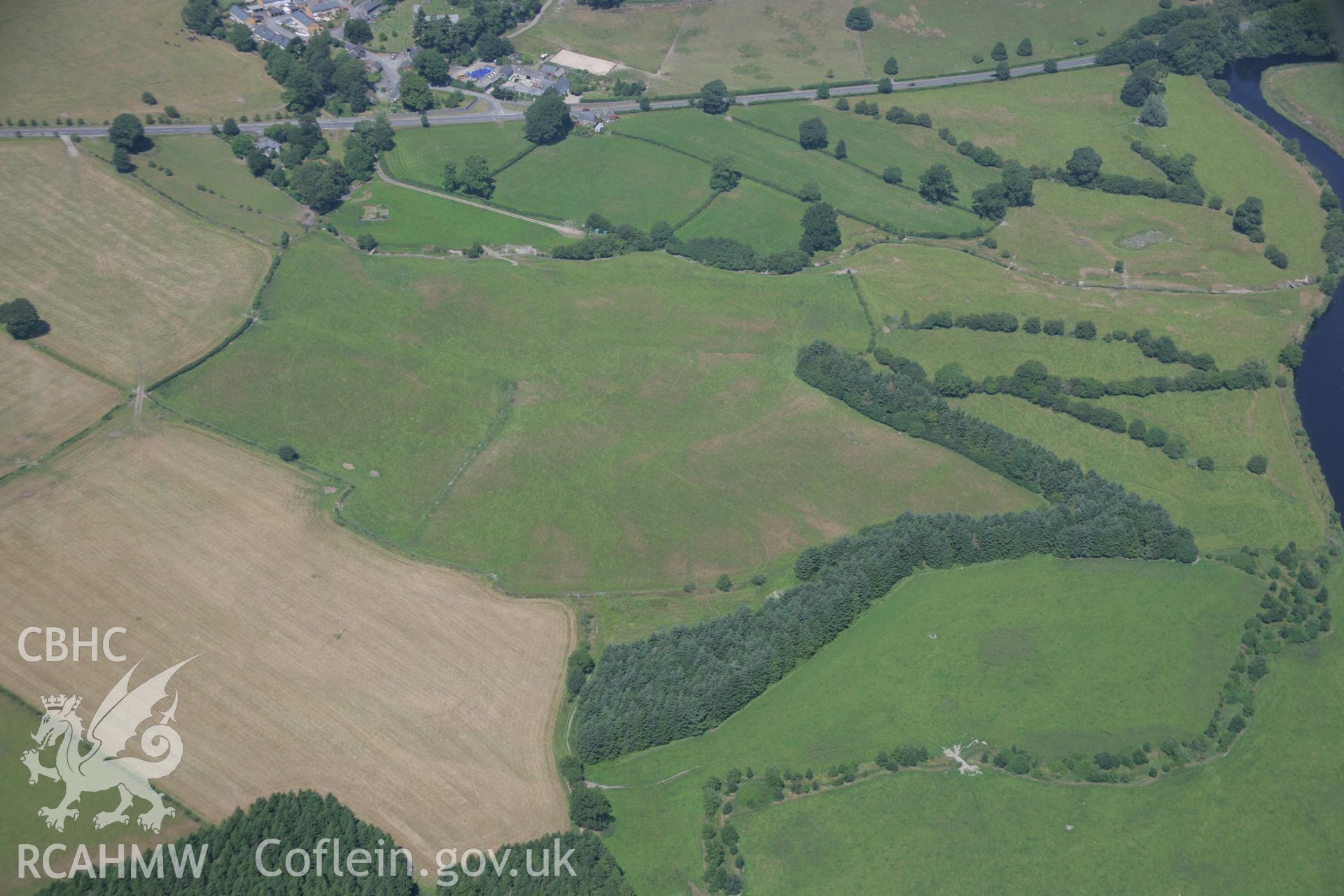 RCAHMW colour oblique aerial photograph of Llanfor Roman Fort. Taken on 18 July 2006 by Toby Driver.