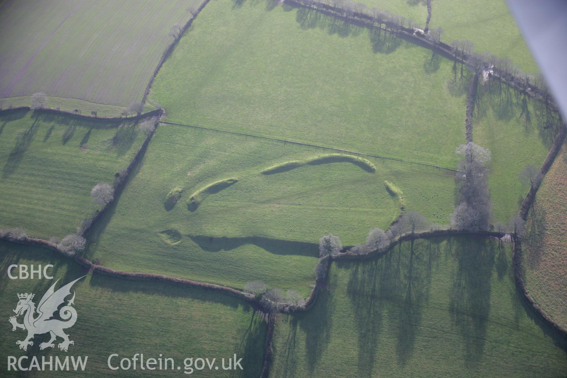 RCAHMW colour oblique aerial photograph of Molleston Back Hillfort Enclosure, viewed from the north. Taken on 11 January 2006 by Toby Driver.