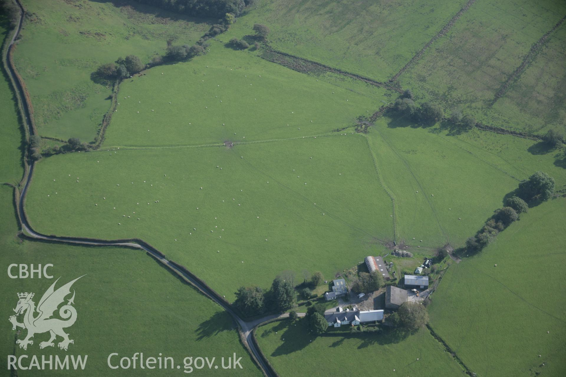 RCAHMW colour oblique aerial photograph of Cefn Caer Roman Fort, Pennal, from the north-west. Taken on 17 October 2005 by Toby Driver