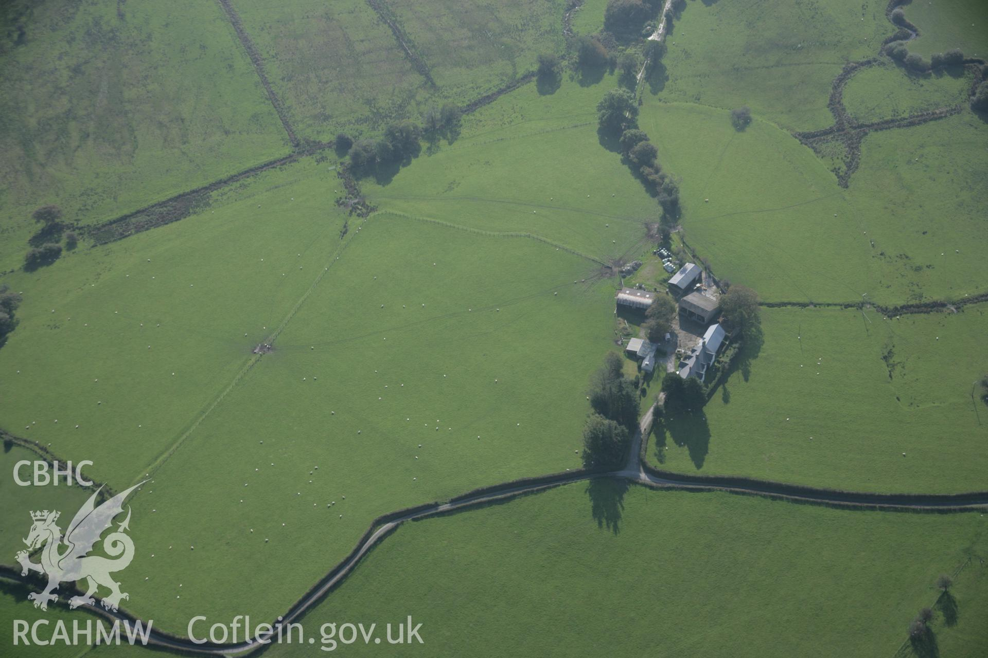 RCAHMW colour oblique aerial photograph of Cefn Caer Roman Fort, Pennal, from the north-east. Taken on 17 October 2005 by Toby Driver