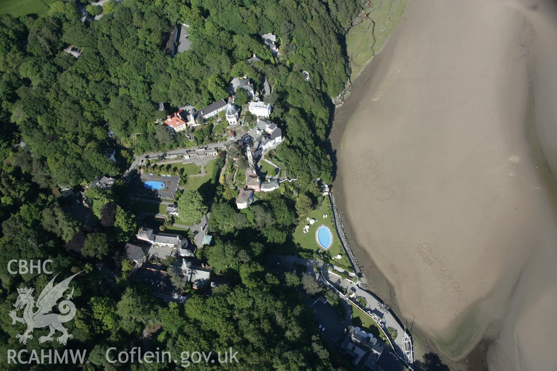 RCAHMW digital colour oblique photograph of Portmeirion viewed from the west. Taken on 08/06/2005 by T.G. Driver.