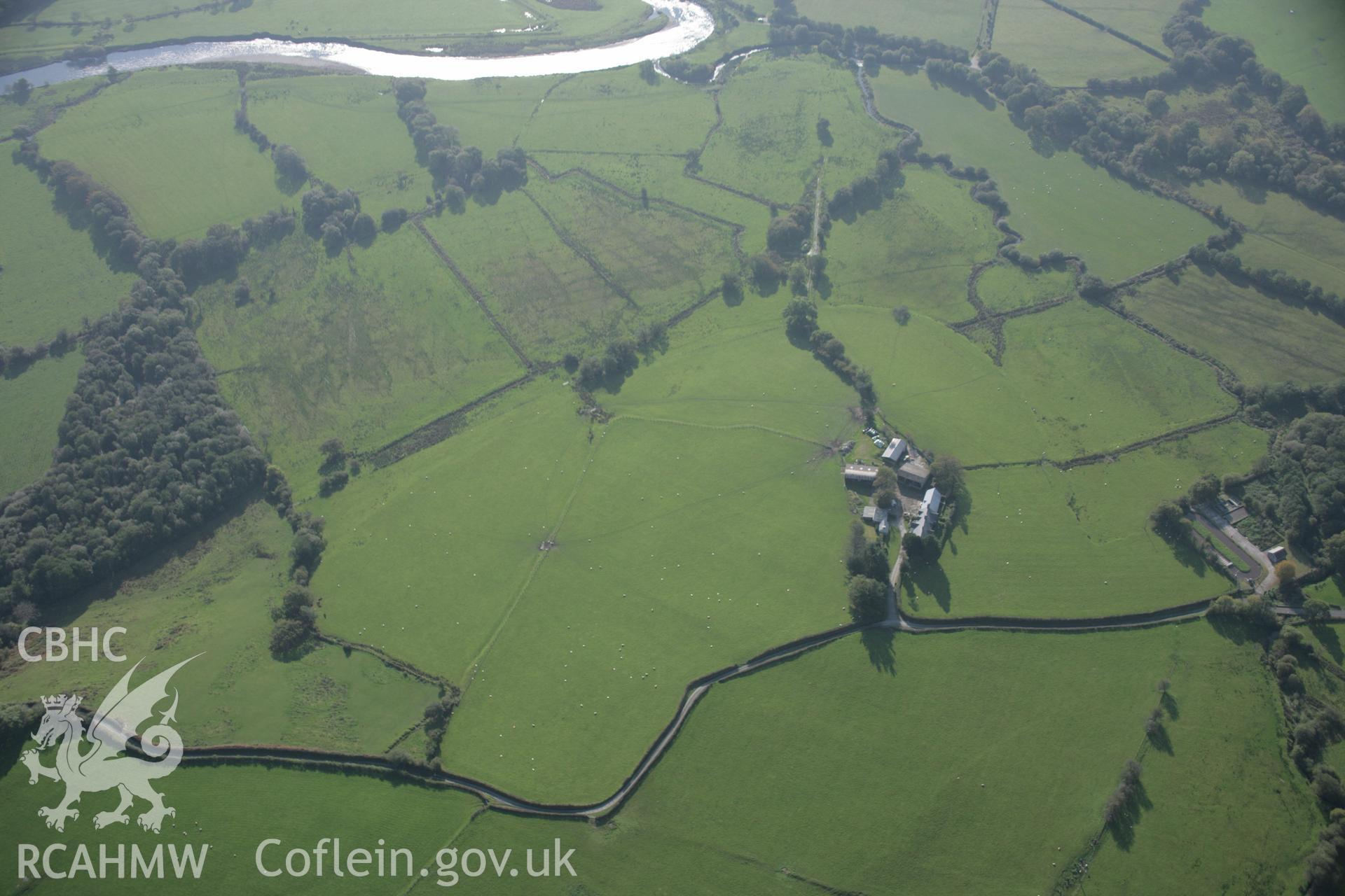RCAHMW colour oblique aerial photograph of Cefn Caer Roman Fort, Pennal. A wide view from the north-east. Taken on 17 October 2005 by Toby Driver