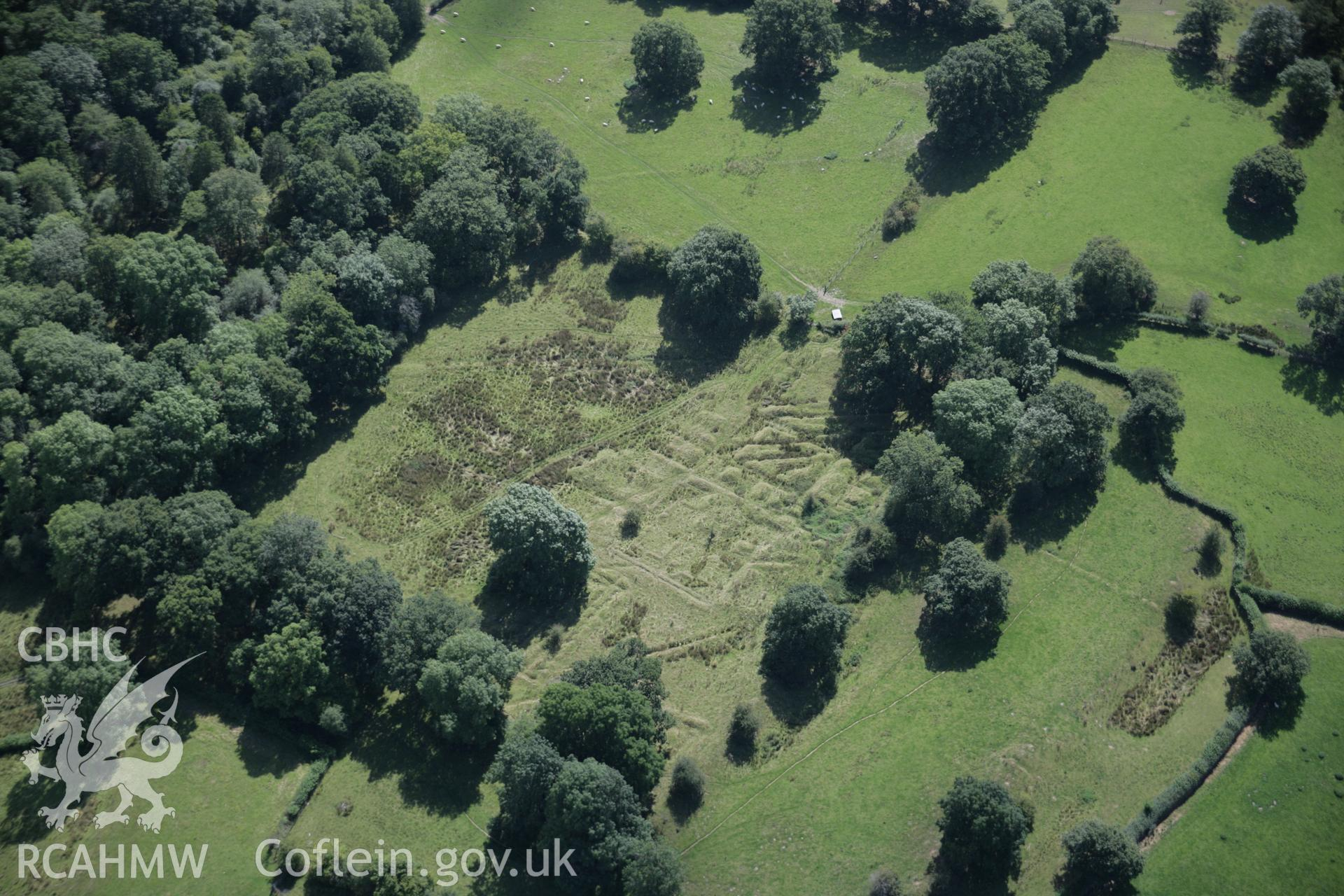 RCAHMW colour oblique aerial photograph of Castell Collen Roman Fort from the north. Taken on 02 September 2005 by Toby Driver
