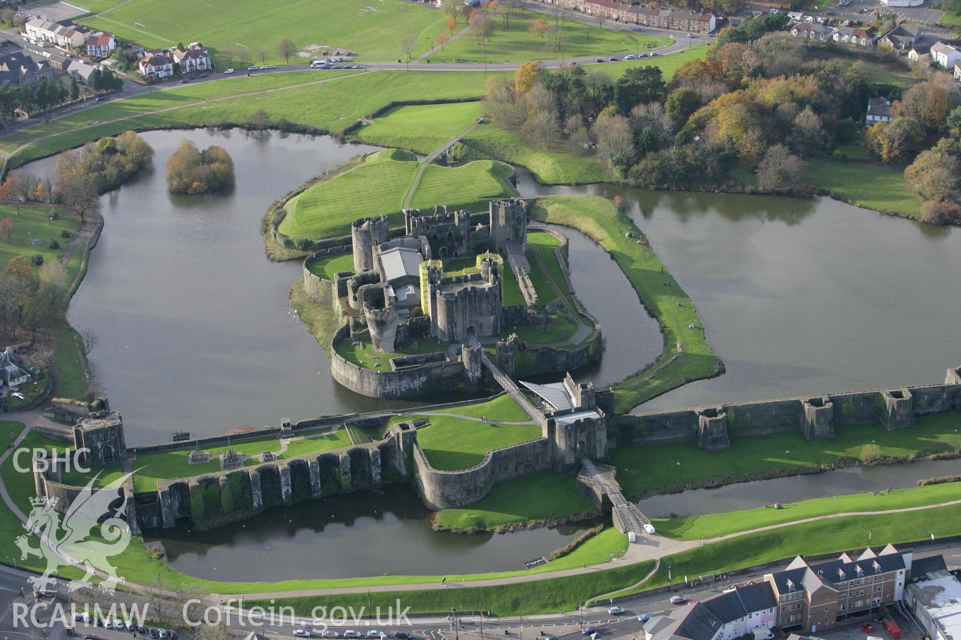 RCAHMW colour oblique photograph of Caerphilly Castle. Taken by Toby Driver on 12/11/2008.