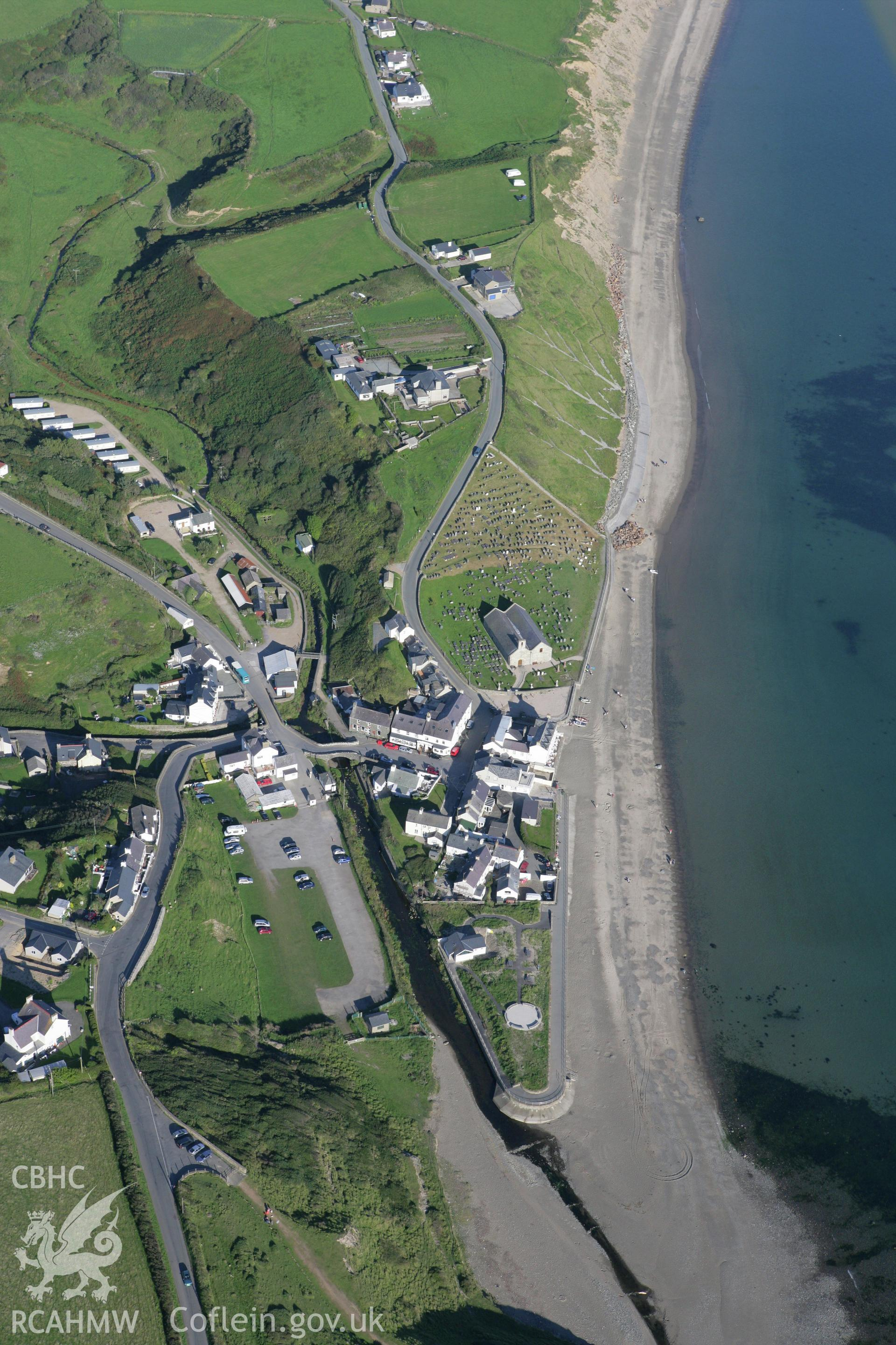 RCAHMW colour oblique aerial photograph of Aberdaron. Taken on 06 September 2007 by Toby Driver