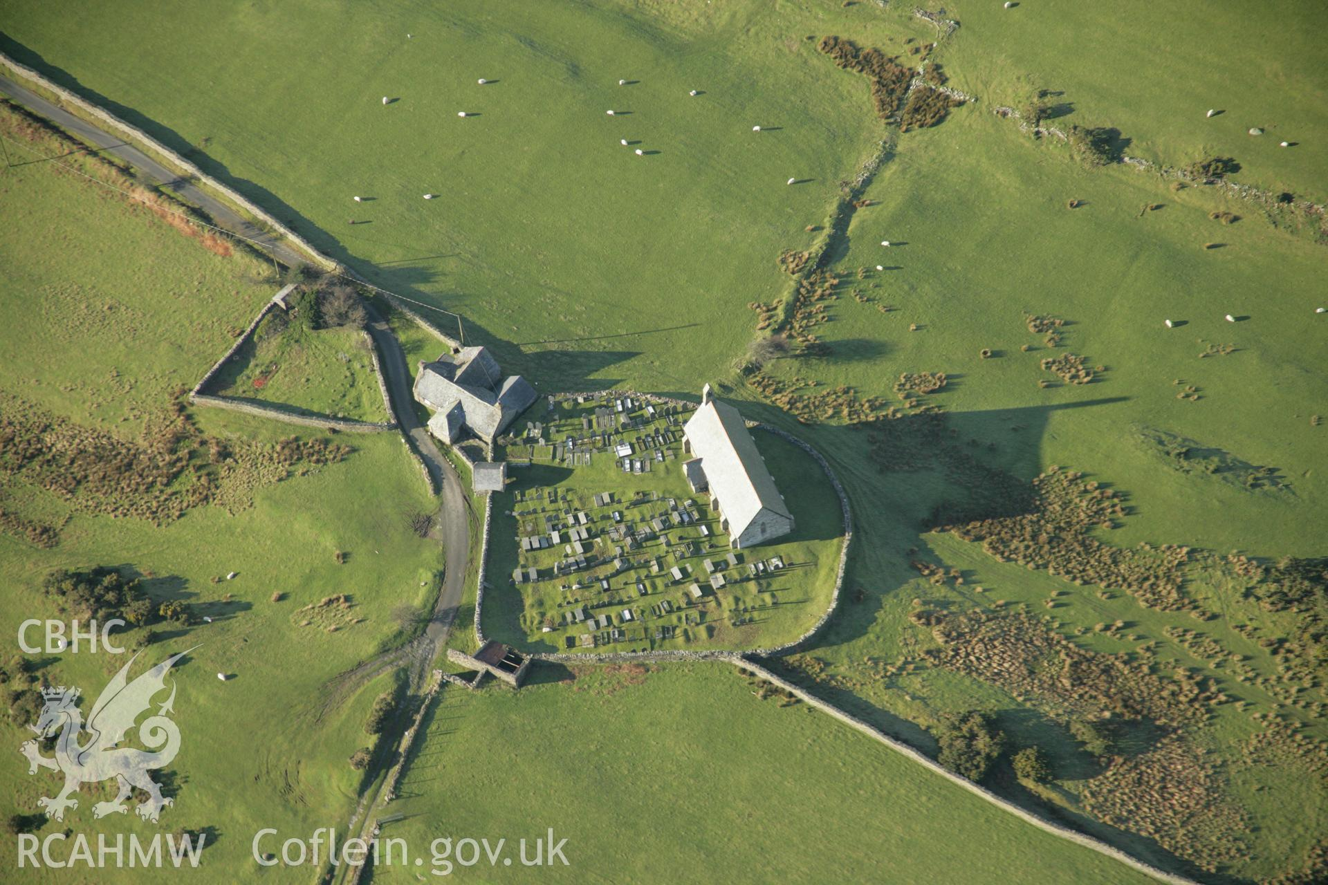 RCAHMW colour oblique aerial photograph of St Tecwyn's, Llandecwyn. Taken on 25 January 2007 by Toby Driver