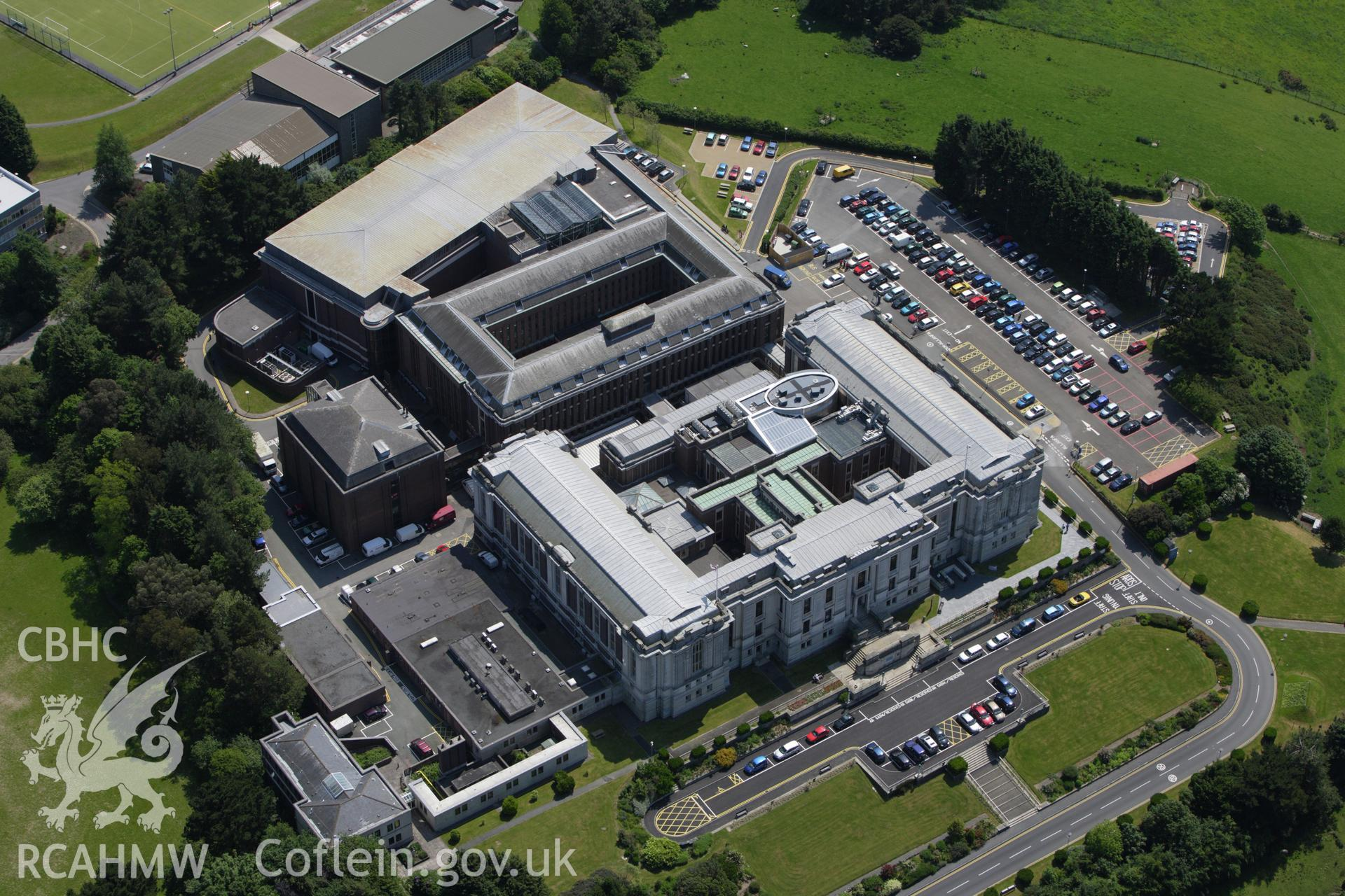 RCAHMW colour oblique aerial photograph of National Library of Wales, Aberystwyth. Taken on 02 June 2009 by Toby Driver