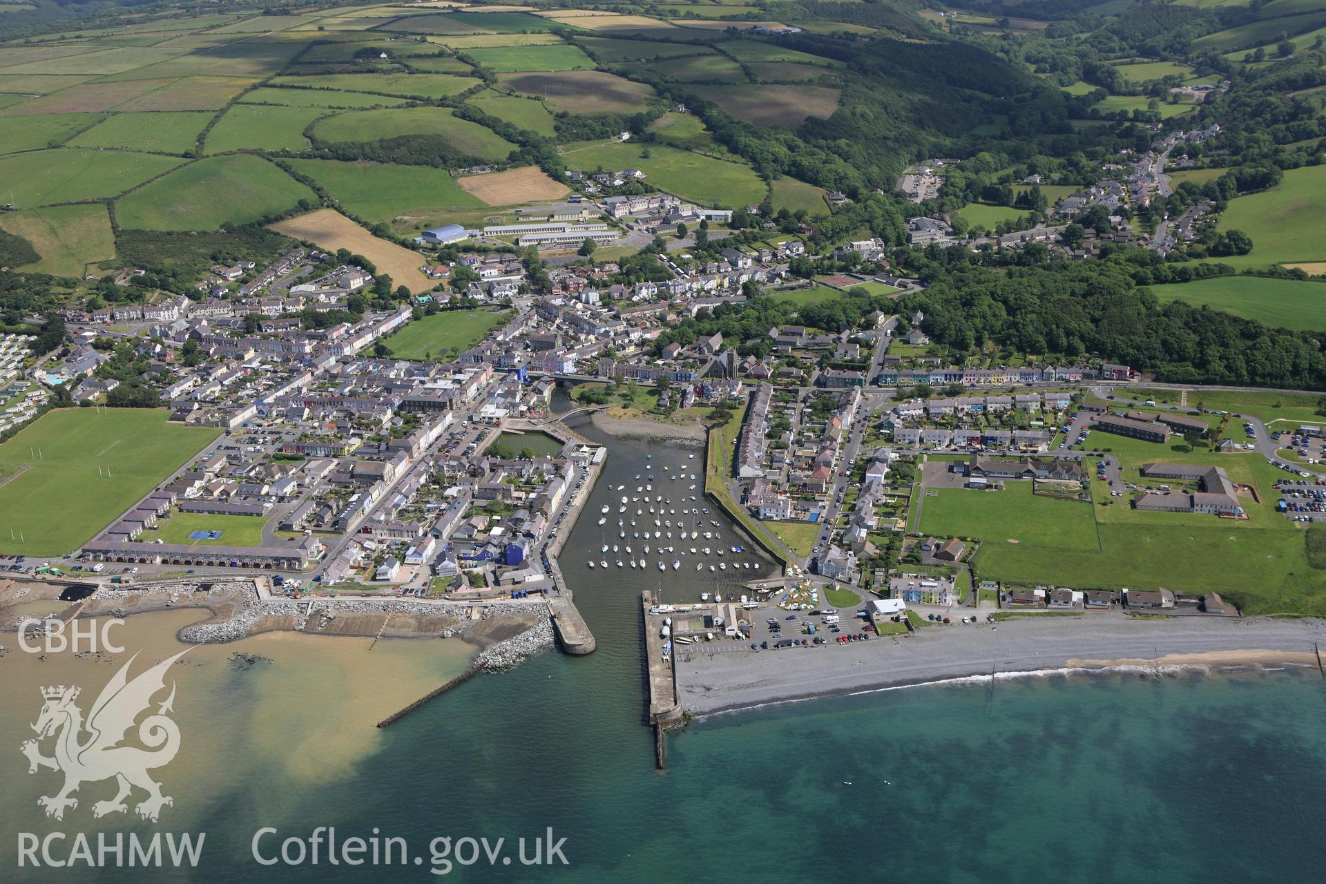 RCAHMW colour oblique aerial photograph of Aberaeron. Taken on 16 June 2009 by Toby Driver